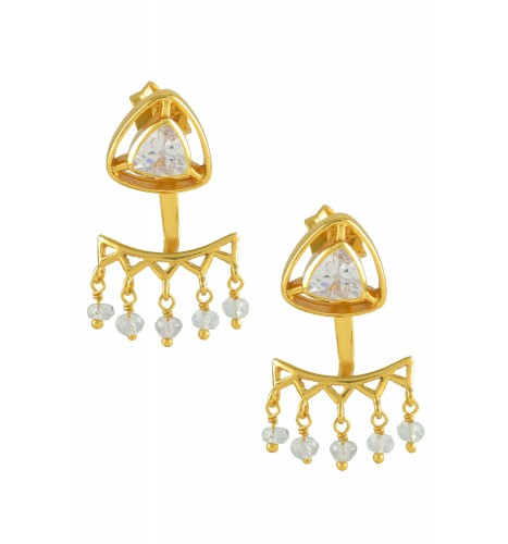 Silver Gold Plated Cubic Zirconia Trillion Drop Front Back Earrings