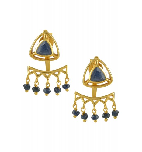 Silver Gold Plated Blue Sapphire Trillion Drop Front Back Earrings