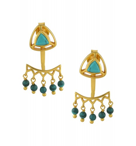 Silver Gold Plated Turquoise Trillion Drop Front Back Earrings