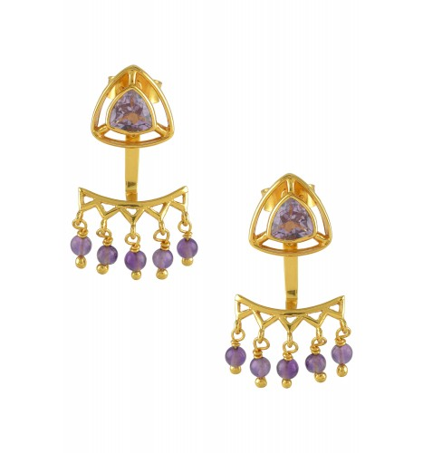 Silver Gold Plated Amethyst Trillion Drop Front Back Earrings