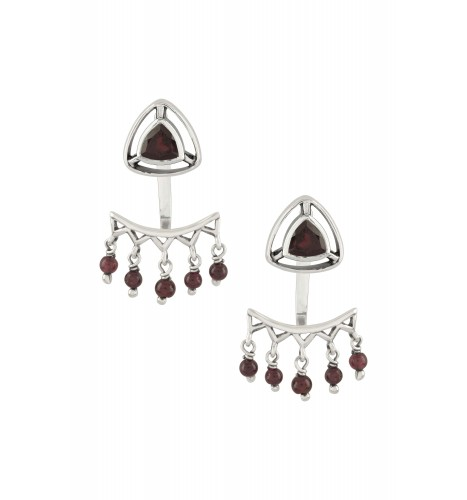 Silver Garnet Trillion Drop Front Back Earrings