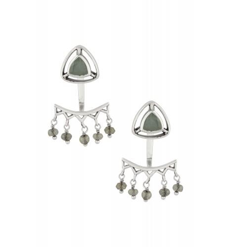 Silver Aquamarine Trillion Drop Front Back Earrings