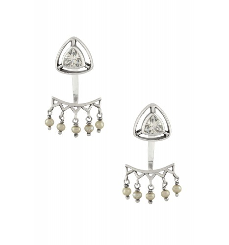 Silver Cubic Zirconia Trillion Drop Front Back Earrings