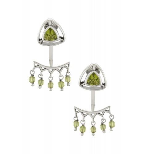 Silver Peridot Trillion Drop Front Back Earrings