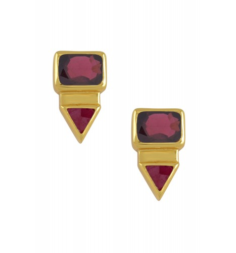 Silver Gold Plated Rectangle Triangle Garnet Ear Studs