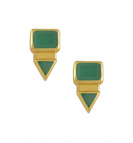 Silver Gold Plated Rectangle Triangle Emerald Ear Studs