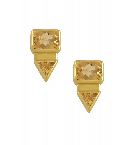 Silver Gold Plated Rectangle Triangle Citrine Ear Studs