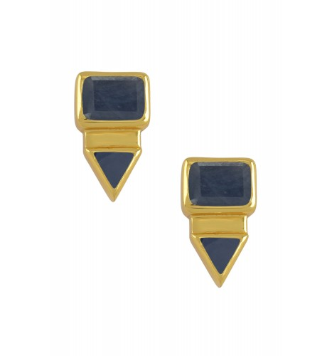Silver Gold Plated Rectangle Triangle Blue Sapphire Ear Studs