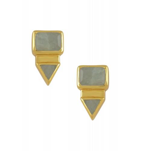 Silver Gold Plated Rectangle Triangle Aquamarine Ear Studs