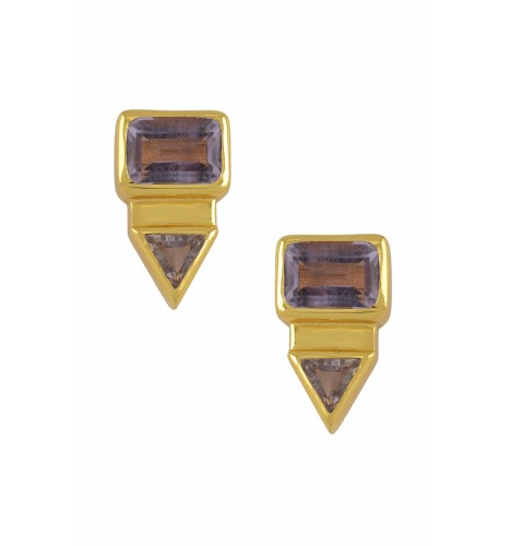Silver Gold Plated Rectangle Triangle Amethyst Ear Studs