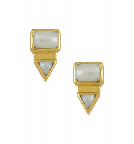 Silver Gold Plated Rectangle Triangle Pearl Ear Studs