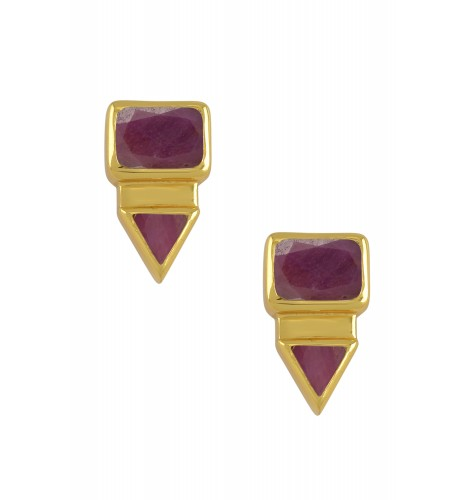 Silver Gold Plated Rectangle Triangle Ruby Ear Studs