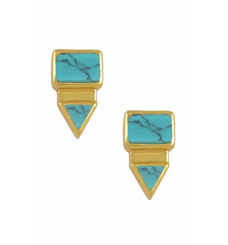 Silver Gold Plated Rectangle Triangle Turquoise Ear Studs