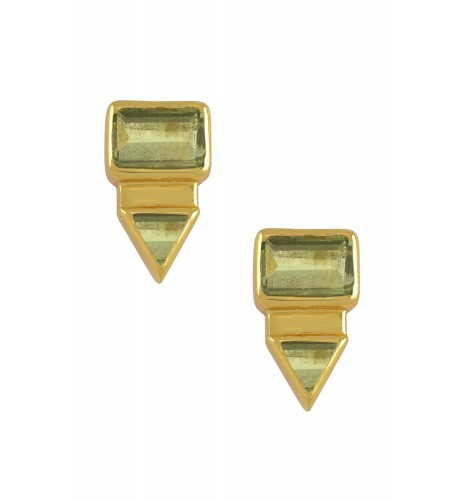Silver Gold Plated Rectangle Triangle Peridot Ear Studs