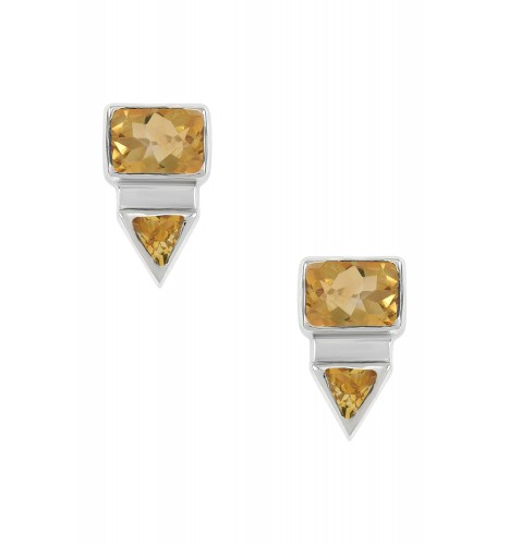 Silver Rectangle Triangle Citrine Ear Studs