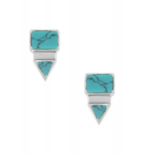 Silver Rectangle Triangle Turquoise Ear Studs