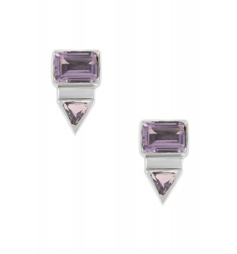 Silver Rectangle Triangle Amethyst Ear Studs