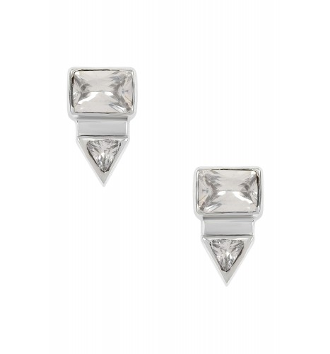 Silver Rectangle Triangle Cubic Zirconia Ear Studs