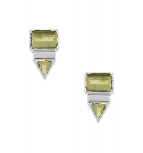 Silver Rectangle Triangle Peridot Ear Studs