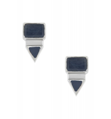 Silver Rectangle Triangle Blue Sapphire Ear Studs