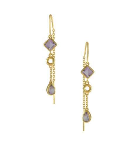 Silver Gold Plated Amethyst Thread Earrings