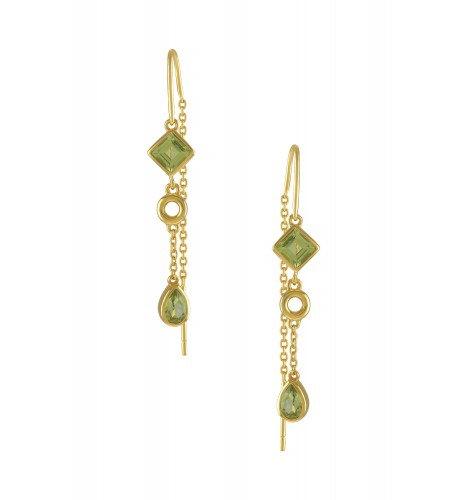Silver Gold Plated Peridot Thread Earrings