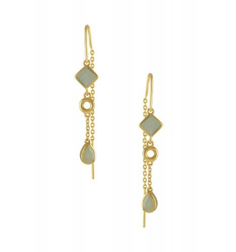 Silver Gold Plated Aquamarine Thread Earrings