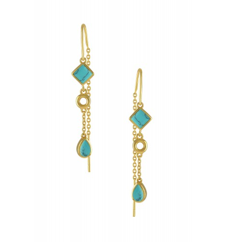 Silver Gold Plated Turquoise Thread Earrings