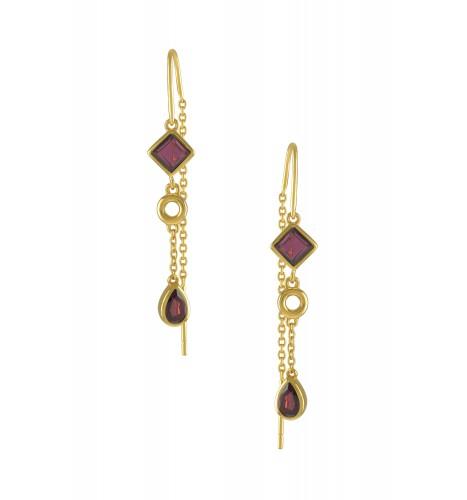 Silver Gold Plated Garnet Thread Earrings