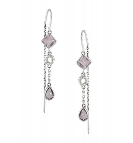 Silver Amethyst Thread Earrings