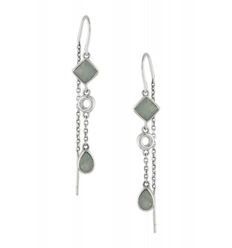 Silver Aquamarine Thread Earrings