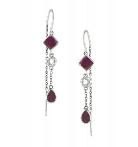 Silver Ruby Thread Earrings