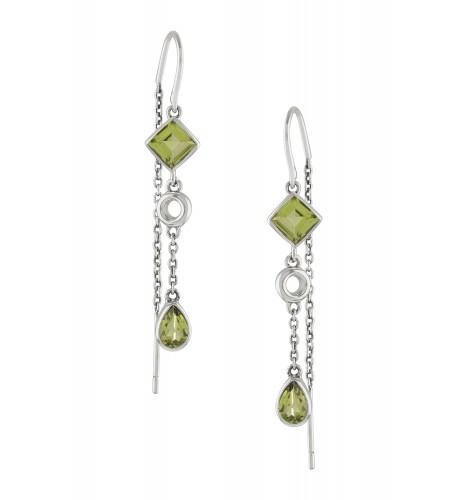 Silver Peridot Thread Earrings