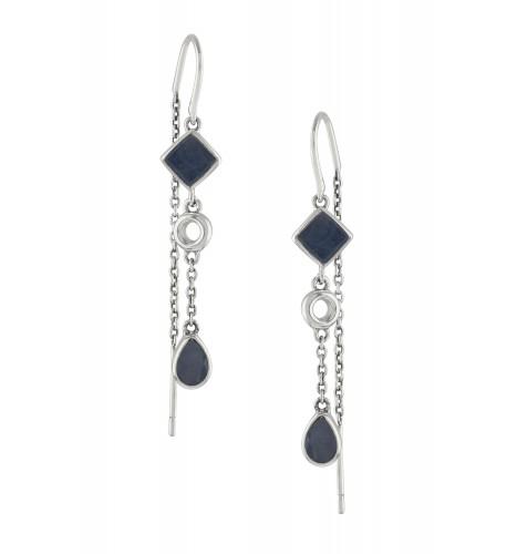Silver Blue Sapphire Thread Earrings