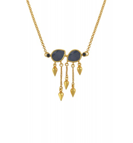 Silver Gold Plated Sapphire Pear Multi Drop Necklace