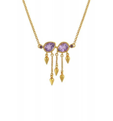 Silver Gold Plated Amethyst Pear Multi Drop Necklace