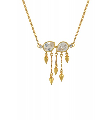 Silver Gold Plated Cubic Zirconia Pear Multi Drop Necklace