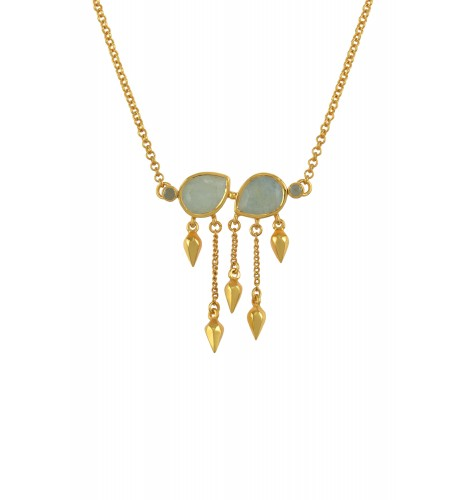 Silver Gold Plated Aquamarine Pear Multi Drop Necklace