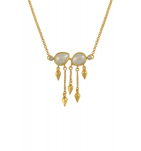 Silver Gold Plated Pearl Pear Multi Drop Necklace