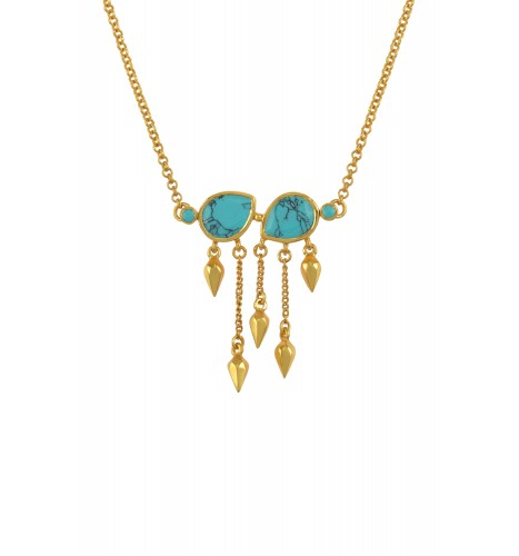 Silver Gold Plated Turquoise Pear Multi Drop Necklace