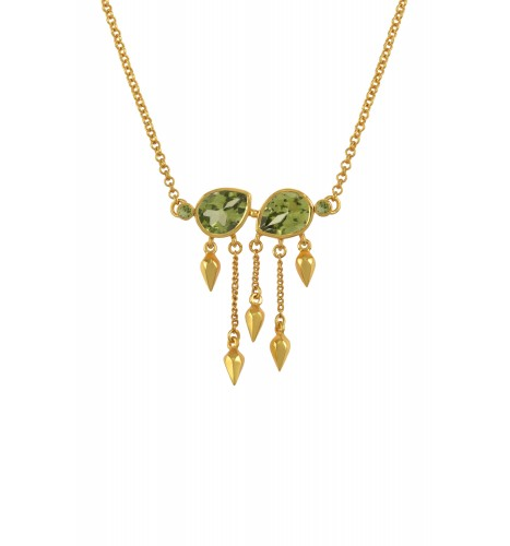 Silver Gold Plated Peridot Pear Multi Drop Necklace
