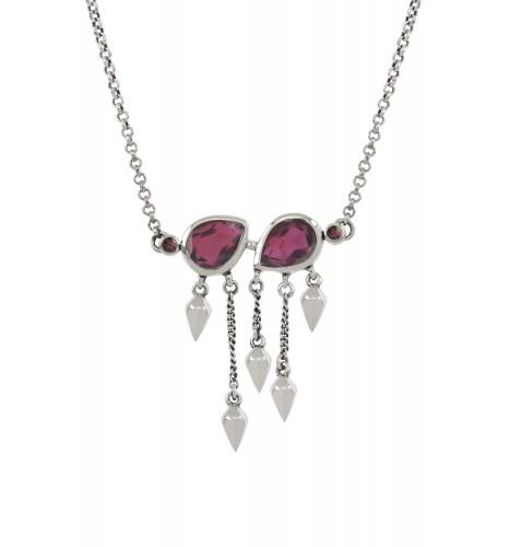 Silver Garnet Pear Multi Drop Necklace