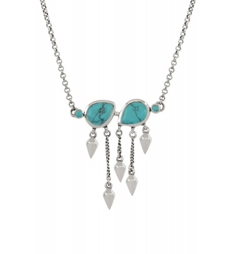 Silver Turquoise Pear Multi Drop Necklace
