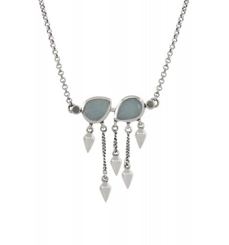 Silver Aquamarine Pear Multi Drop Necklace