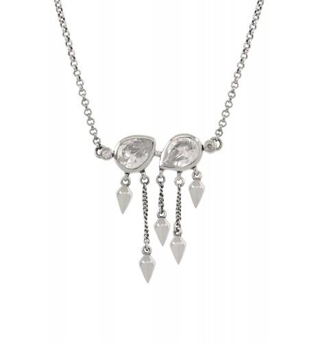 Silver Cubic Zirconia Pear Multi Drop Necklace