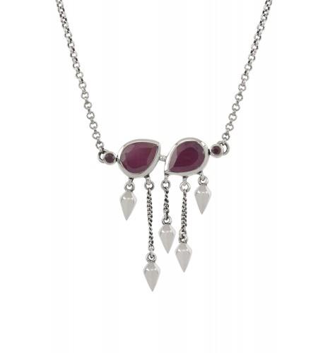 Silver Ruby Pear Multi Drop Necklace