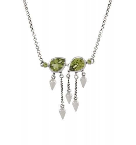 Silver Peridot Pear Multi Drop Necklace