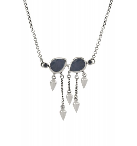Silver Sapphire Pear Multi Drop Necklace