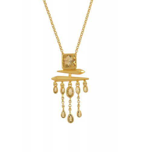 Silver Gold Plated Citrine Square Drop Pendant Necklace