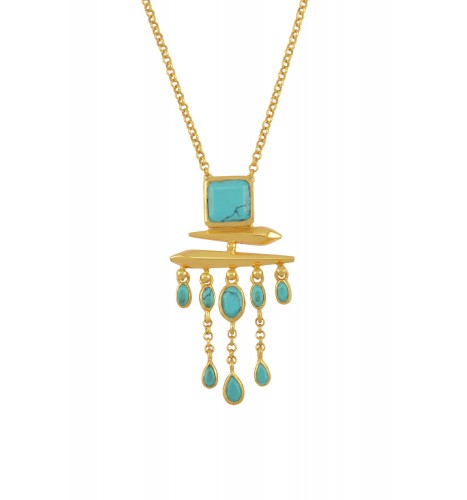 Silver Gold Plated Turquoise Square Drop Pendant Necklace